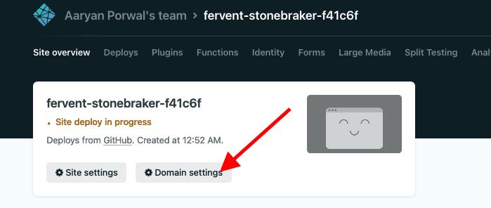click domain settings